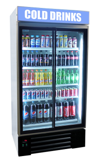 Double Door Upright Canopy Display Fridge