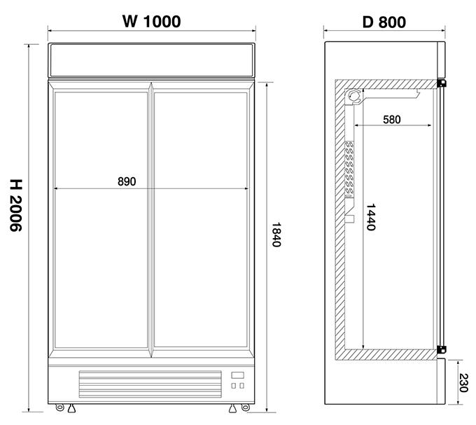 Upright Double Door Canopy Display Chiller Frost Tech Ltd